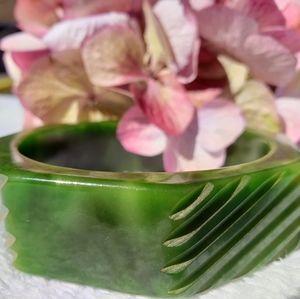 Genuine Bakelite Octagonal Carved Green Bangle